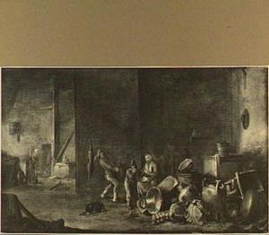 Boerengezelschap in een schuur met daarbij onder andere een vrouw die groente schoonmaakt; rechts op de voorgrond een stilleven van vaatwerk en groente