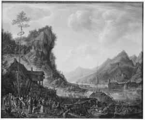 Bergachtig rivierlandschap met dansende boeren bij een aanlegplaats voor schepen