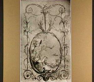 Ovale voorstelling met vogels aan een waterkant in een kader van blad- en bloemlinten