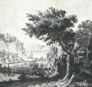 Bebost landschap met een houten huis, werkende landlieden in de verte aan een riviertje