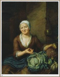 Zittende oude vrouw met groene kool, rode kool en wortelen