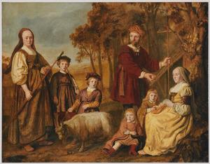 Portret van een familie in pastoraal /oud-testamentische opstelling in een landschap