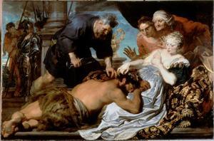 Simson, slapend in Delila's schoot, worden de haren afgeknipt (Richteren 16:19)