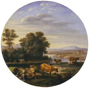 Italianiserend rivierlandschap met runderen