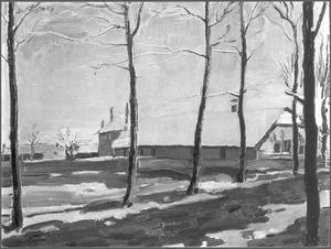 Winterlandschap met boerderij