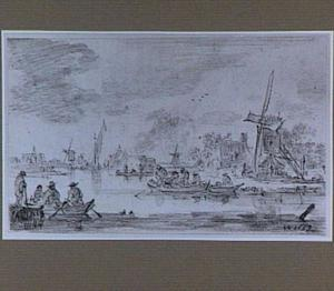 Rivierlandschap met roeibootjes en standerdmolens langs de oever (Links op de achtergrond de St. Bavo van Haarlem?)
