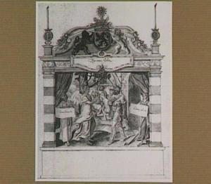 Tweede stellage van de vier rederijkerskamers langs de route van de intocht van Frans van Anjou in Gent in 1582.  Een engel bericht Gideon van zijn uitverkiezing tot bevrijder van het volk Israel, met links en rechts personificaties van Liefde en Vrede, op de achtergrond het verdrijven van de Midianiten (illustratie in een handschrift)