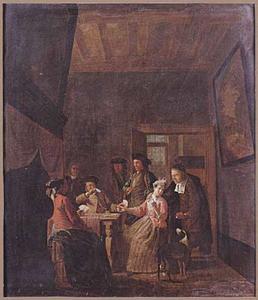 Interieur met een kaartspelend gezelschap waaronder een vrouw