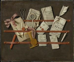 Trompe l'oeil met kranten, brieven, schaar en kam