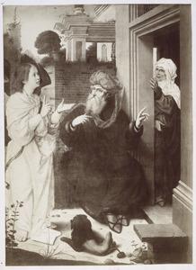 De engel voorzegt Abraham  de geboorte van zijn zoon Isaak; Sara luistert in het geheim en lacht (Genesis 18:9-10)