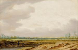 Panoramalandschap met hengelaars en rustende man