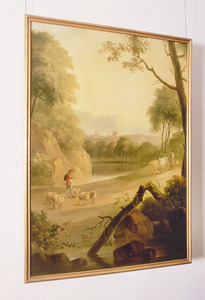 Arcadisch landschap met vee en landlieden over een weg langs een meer