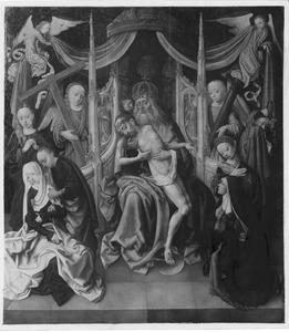 De H. Drieëenheid met Maria, Johannes de Evangelist, heilige vrouwen en de stichtster