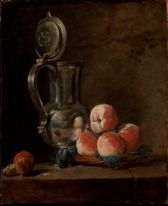 Stilleven met perzikken en een tinnen kan