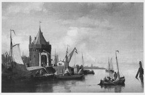 Stadsgezicht in Amsterdam met de Schreierstoren