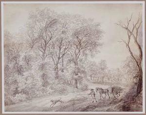 Boslandschap met man en paard en wagen