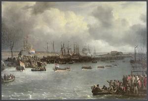 De begrafenis van Luitenant-ter-Zee 1e klasse J.C.J. van Speyk, bij het passeren van de Oosterdoksluis te Amsterdam, 4 mei 1832