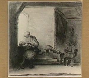 Interieur met lezende man bij een raam en een vrouw zittend bij een vuur