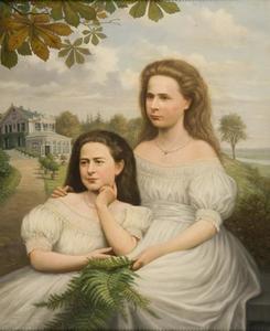 Portret van Justine Thérèse Civile barones de Constant Rebecque de Villars (1855-1951) en Cécile Alexandrine barones de Constant Rebecque de Villars (1857-1941)