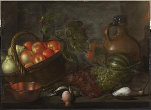Stilleven met vruchten en een steengoed kan