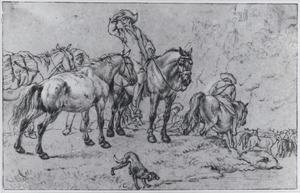 Ruiters en een kudde schapen bij een rivier (Le maquignon)