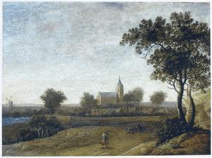 Landschap met grote kerk in een stad