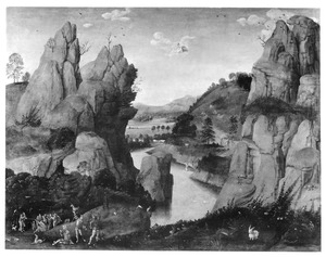 Landschap met de prediking van Johannes en de doop van Christus in de Jordaan