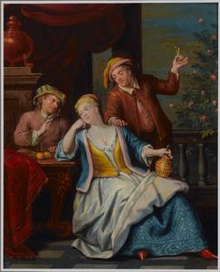 Jonge vrouw met twee mannen op een terras