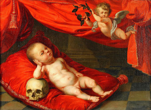 Portret van een onbekende baby met Vanitassymbolen