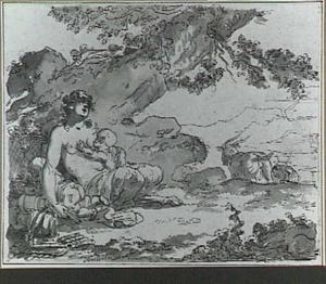 Italianiserend landschap met vrouwelijke sater en twee kinderen