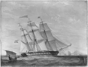 Het fregatschip 'Jacoba Cornelia Clasina', van rederij Rietveld op de rede van Batavia