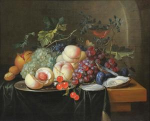 Stilleven van vruchten en oesters