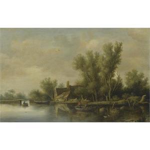 Rivierandschap met een boerderij nabij een brug, een roeiboot met twee boeren in het water, hooiberg en waterput