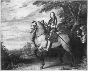 Ruiterportret van koning Karel I van Engeland (1600-1649) met zijn page Sir Thomas Morton (?-?)