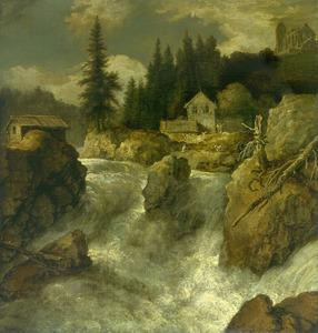Scandinavisch landschap met blokhutten bij een waterval