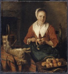 Appels schillende keukenmeid