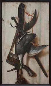 Trompe l'oeil met dode eend en jachtgerei