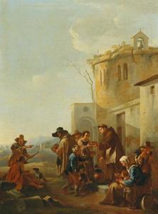 Voedseluitdeling bij een kloosterpoort: een der werken van Barmhartigheid (Matteüs 25:35-37)
