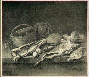 Visstilleven met groente op een stenen plint