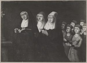 Portret van Lutgera Reymersdr. de Jonge (....-1498) en haar acht dochters