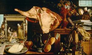 Vanitas stilleven met op de achtergrond Christus in het huis van Martha en Maria