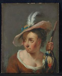Vrouw met een patrijs aan een braadspit