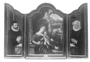 Stichter (links), de Heilige Familie (midden), stichtster (rechts)