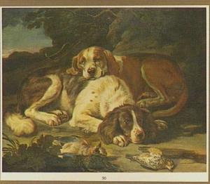 Twee liggende honden bij een jachtbuit van gevogelte in een landschap