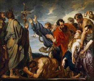 Mozes en de Koperen Slang: Al wie gebeten is door een slang en opziet naar de door Mozes opgerichte Koperen Slang wordt genezen (Numeri 21:6-9)