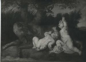 Romulus en Remus opgevoed door de wolvin