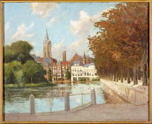De Hofvijver te Den Haag gezien vanaf de Korte Vijverberg, met op de achtergrond de Grote of Sint-Jacobskerk