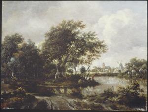 Bebost landschap met rivier