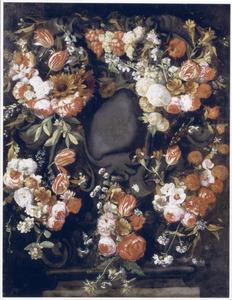 Bloemenkrans rond een cartouche met zinspreuk