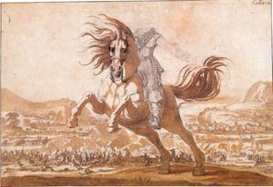 De Prins van Phalsbourg te paard in de galop naar links